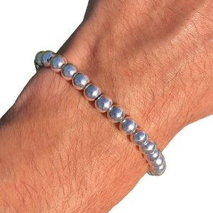 Vintage Sterling Silver Ball Bead Bracelet Italy